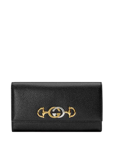 Gucci Zumi Grainy Leather Continental Wallet In Black