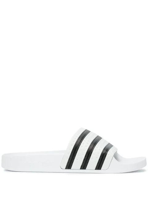Adidas Originals Adidas Logo Stripe Slide Sandals - White
