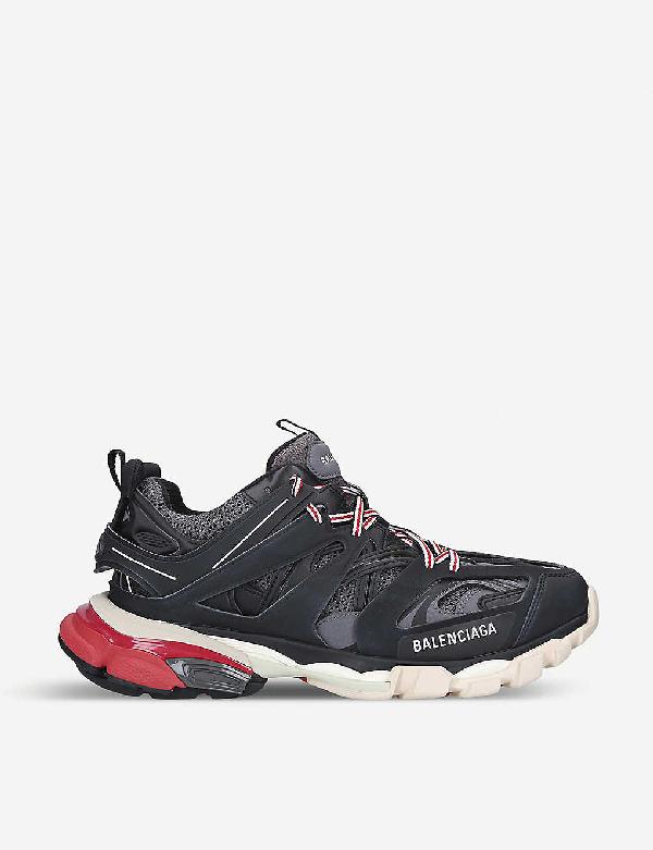 Balenciaga Low-top Sneakers Track Fabric Mix Logo Black Grey Red