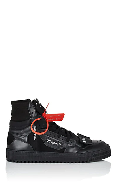 """Off-White """"Off-Court"""" 3.0 Black Leather Hi-Top Sneakers"""