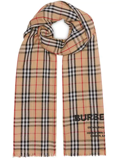 Burberry Logo Embroidered Vintage Check Lightweight Cashmere Scarf In Brown