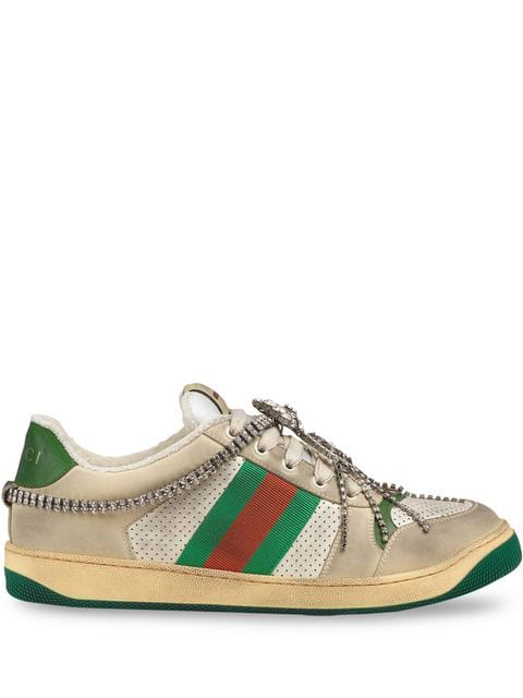 Gucci Screener Embellished Canvas-trimmed Distressed Leather Sneakers In Neutrals ,green