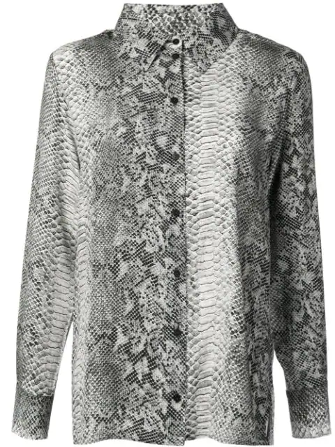 Gold Hawk Python Print Blouse In Grey