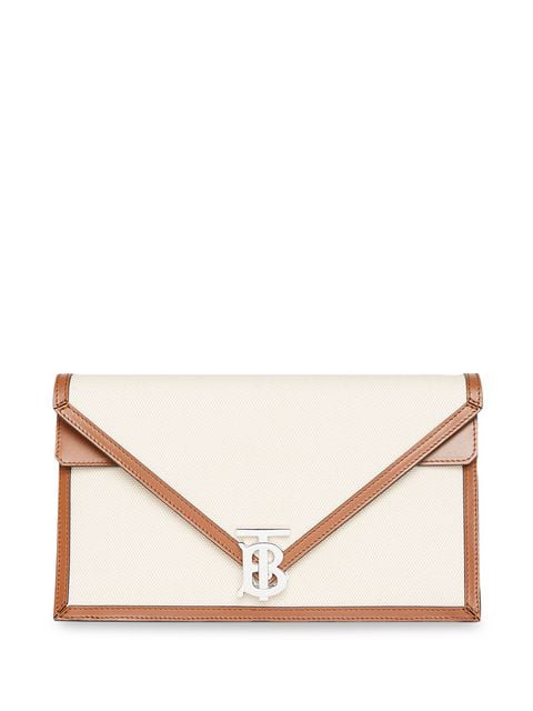 Burberry Small Canvas And Leather Tb Envelope Clutch In Neutrals