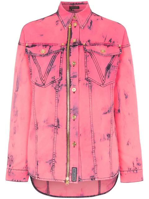 Versace Acid Washed Denim Shirt In A8705 Pink