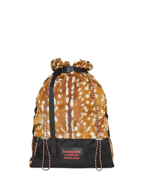 Burberry Deer Print Nylon Drawcord Backpack In Brown