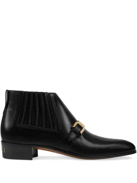 Gucci 布洛克雕花真皮logo及裸靴 - 黑色 In Black