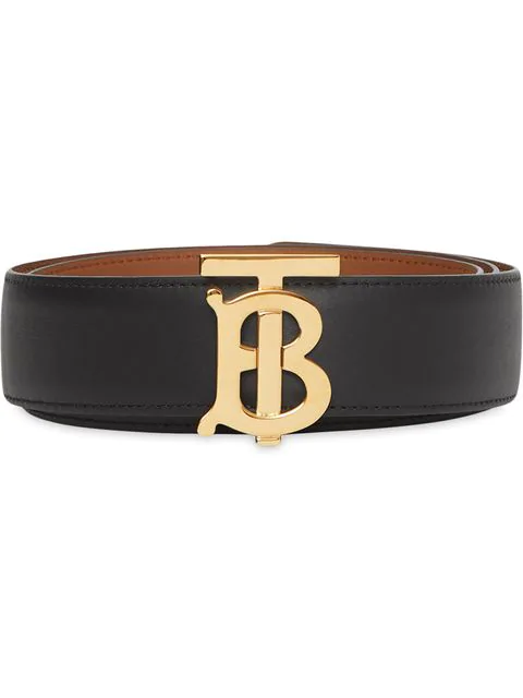 Burberry Reversible Monogram Motif Leather Belt Black