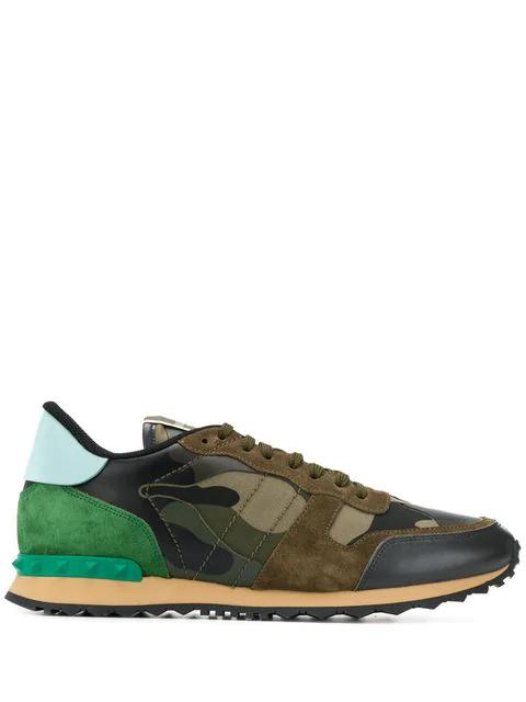 Valentino Garavani Garavani Rockrunner Camouflage Sneakers In K22 Kaki/ Camouflage