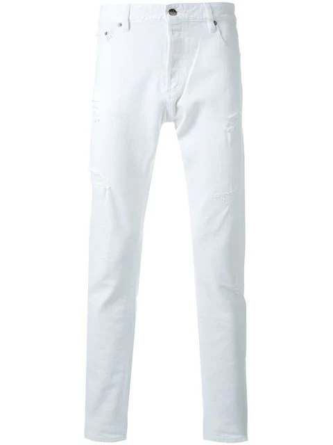 Hl Heddie Lovu Distressed Slim Fit Jeans In White