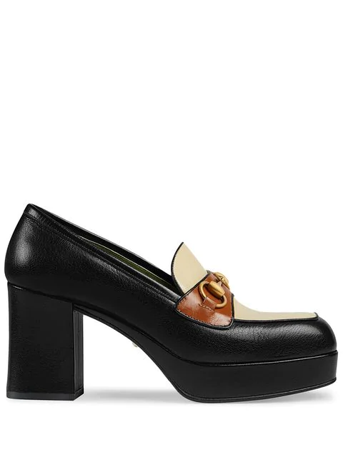 Gucci Leather Platform Loafer With Horsebit In 1066 Black