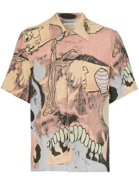 Our Legacy Acid Landscape Short Sleeve Shirt In Multicoloured