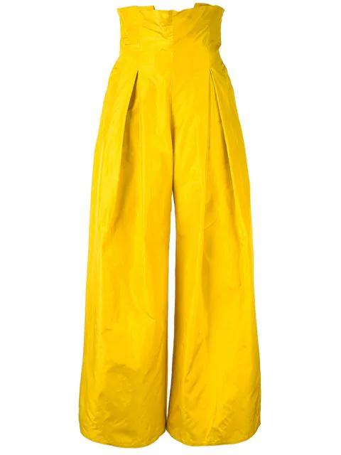 Abadia 打褶长裤 - 黄色 In Yellow