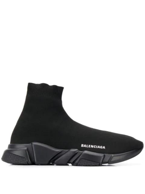 Balenciaga Men's Logo Speed Sneakers With Tonal Rubber Sole In 1000Noir