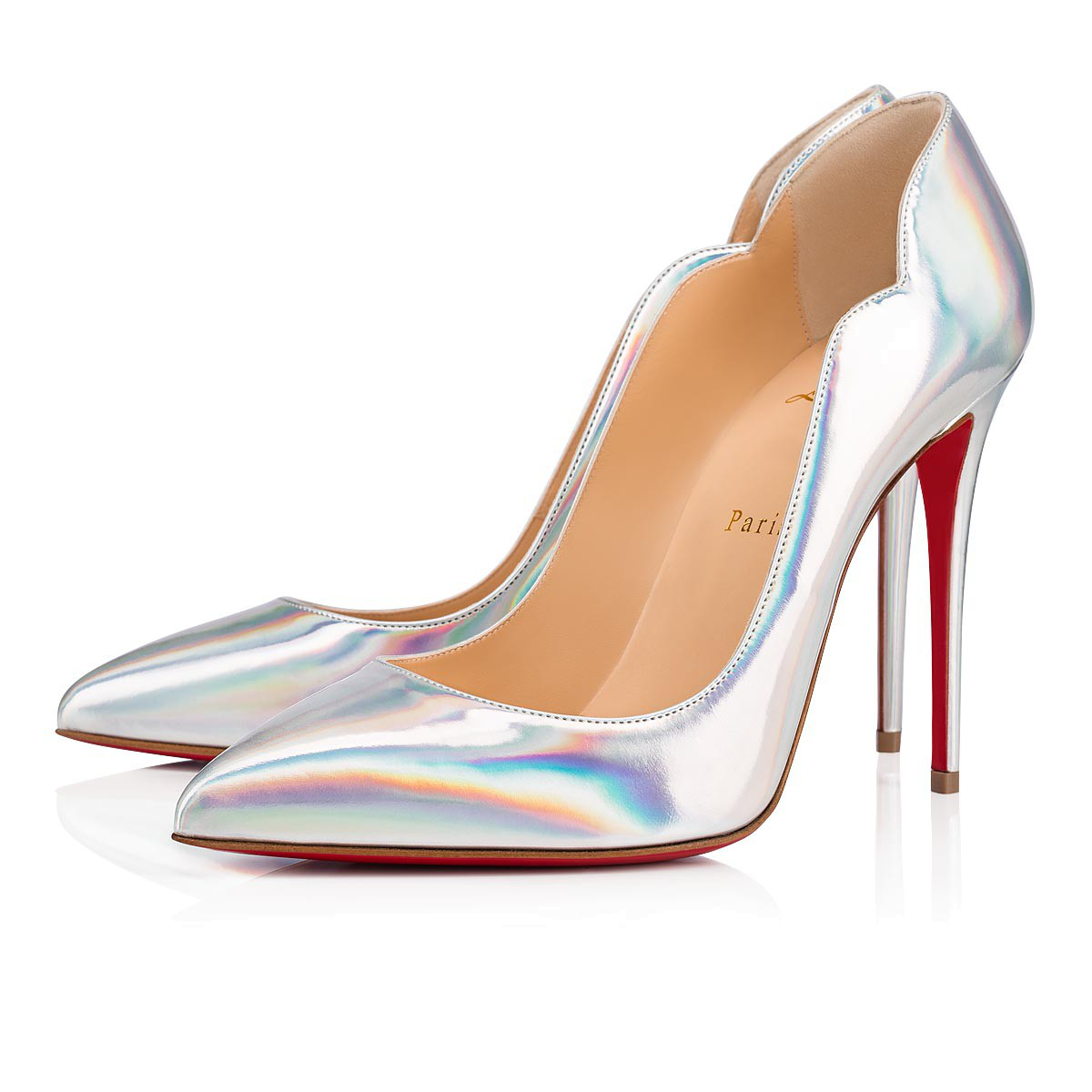 2268f1aaee92 Christian Louboutin Hot Chick 100 Iridescent Leather Pumps In Silver ...