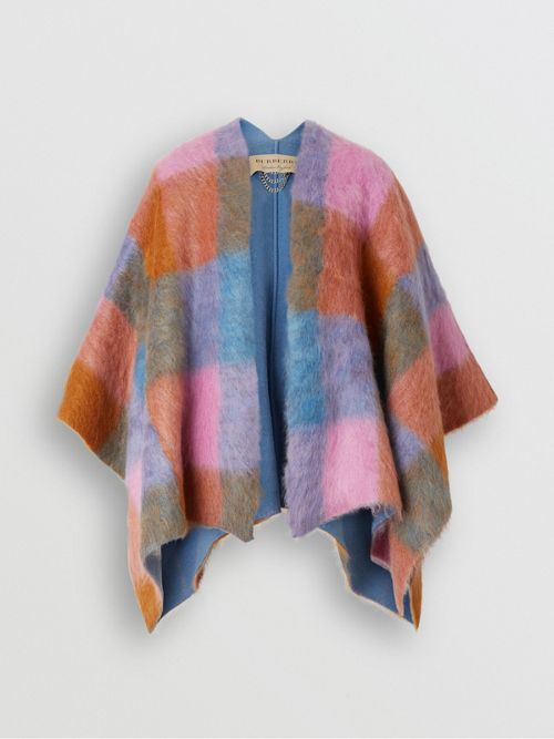 Burberry Patchwork Mohair Blend Cape In Pink