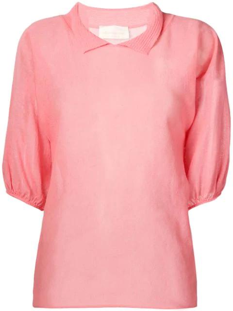 Chiara Bertani Short Sleeved Knitted Top In Pink