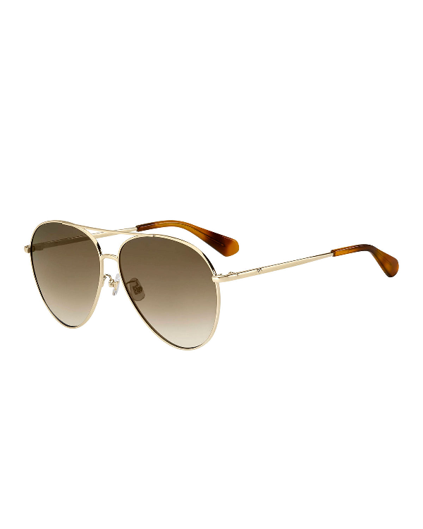 3d7a7c4ffa Kate Spade Carolane 61Mm Special Fit Polarized Aviator Sunglasses - Gold   Brown