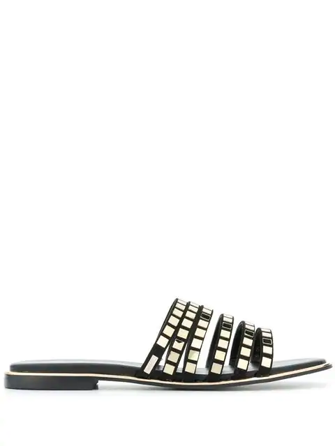 Liu •jo Susan Flat Sandals In Black