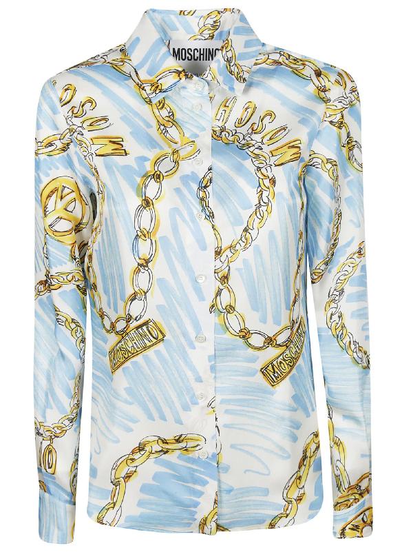 bf82d34c9e79a Moschino Chain-Print Silk-Twill Shirt In Blue   ModeSens