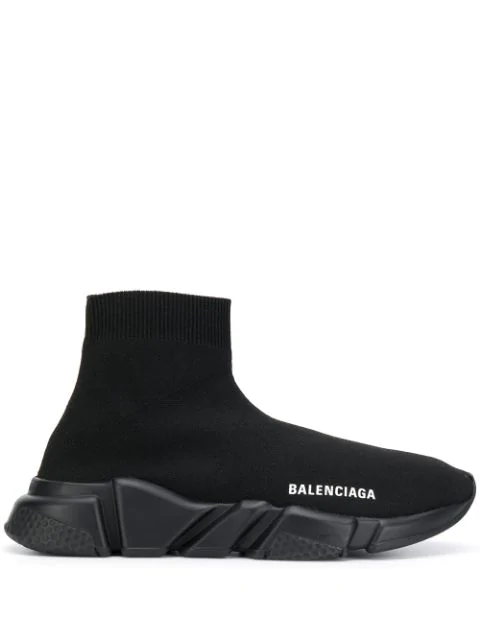 Balenciaga Speed Logo-embroidered Metallic Stretch-knit High-top Sneakers In 1000 Black