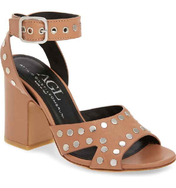 Agl Attilio Giusti Leombruni High Studded Sandal In Caramel Leather