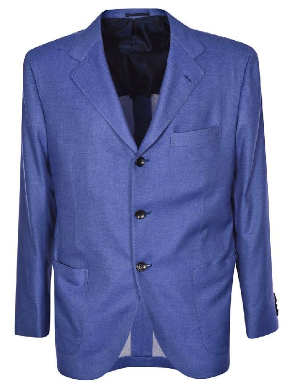 Kiton Single Breasted Blazer In Blue