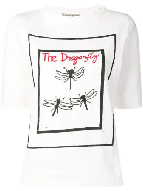 Holland & Holland The Dragonfly Print T-shirt In White