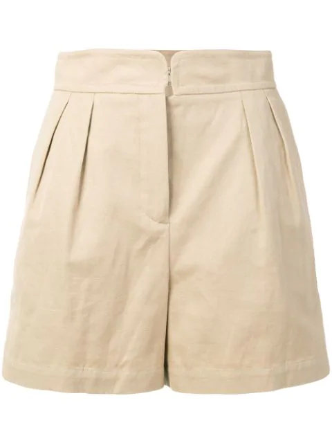 Holland & Holland High-rise Pleated Shorts In Neutrals