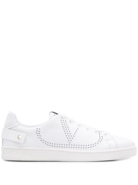 Valentino Garavani Perforated-logo Shearling-lined Leather Trainers In 0bo White
