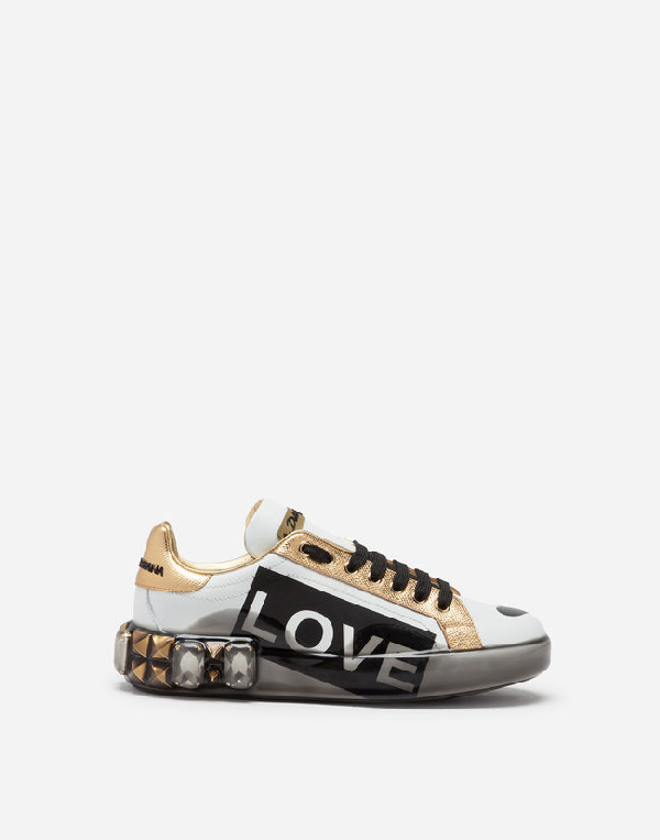 Dolce & Gabbana Embellished Printed Metallic-Trimmed Leather Sneakers In White
