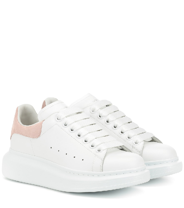 Alexander Mcqueen Suede-Trimmed Leather Exaggerated-Sole Sneakers In 9182 - White/Patchouli