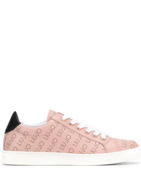 Liu •jo Perforated Logo Sneakers In Pink