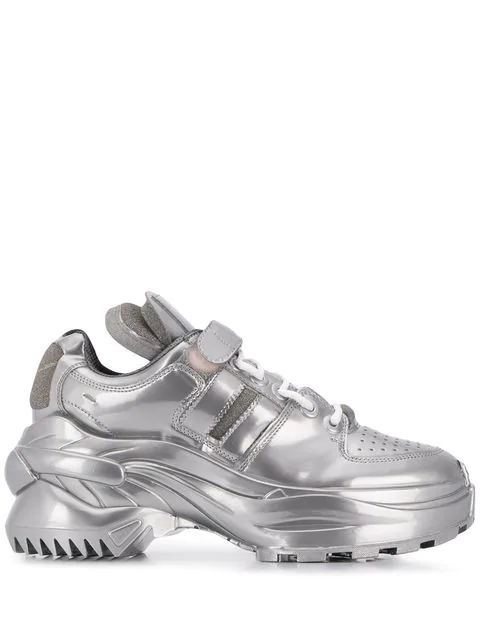 Maison Margiela Retro Fit Laminated Trainers In T9002 Silver