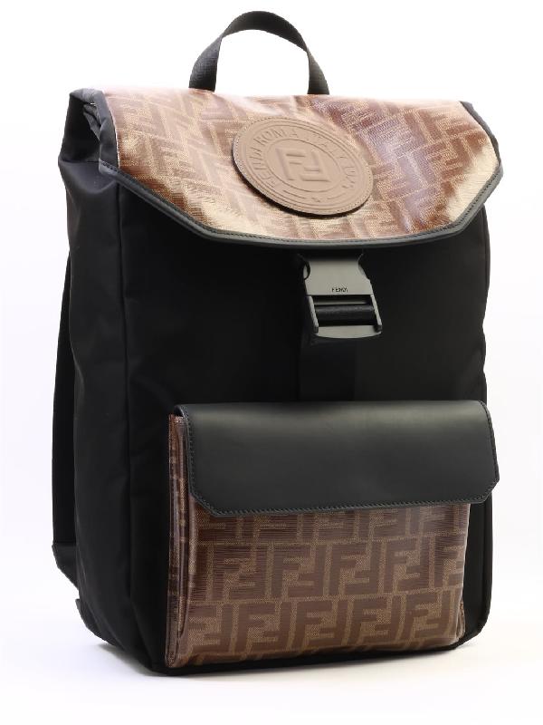 932112482b28 Fendi Ff Vetrificato Contrast Print Backpack In Black