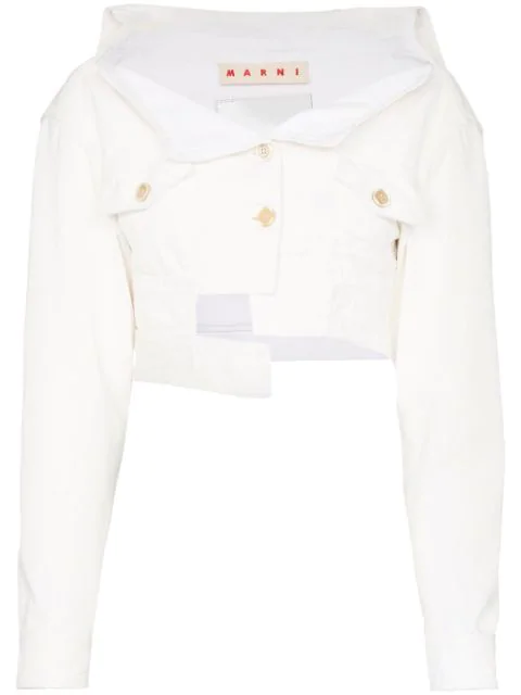 Marni Deconstructed Asymmetric Cropped Denim Jacket In White