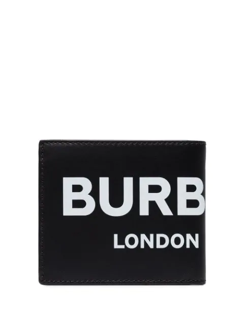 Burberry Logo Print Leather International Bifold Coin Wallet In Black