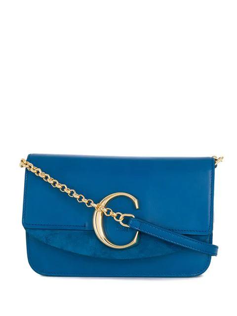 Chloé 标志牌小号单肩包 - 蓝色 In Blue