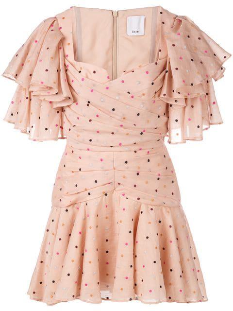 Acler Ruffled Spot Print Mini Dress - Pink