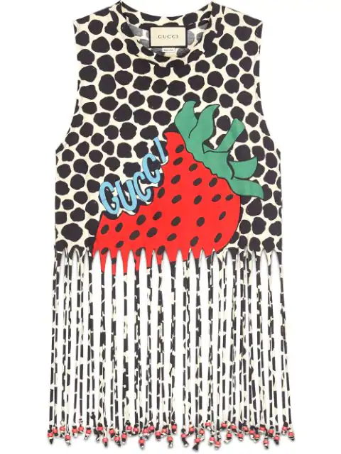 Gucci Strawberry-print Cotton-jersey Tank Top In Neutrals