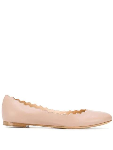 ChloÉ Lauren Scalloped Leather Ballet Flats, Light Pink