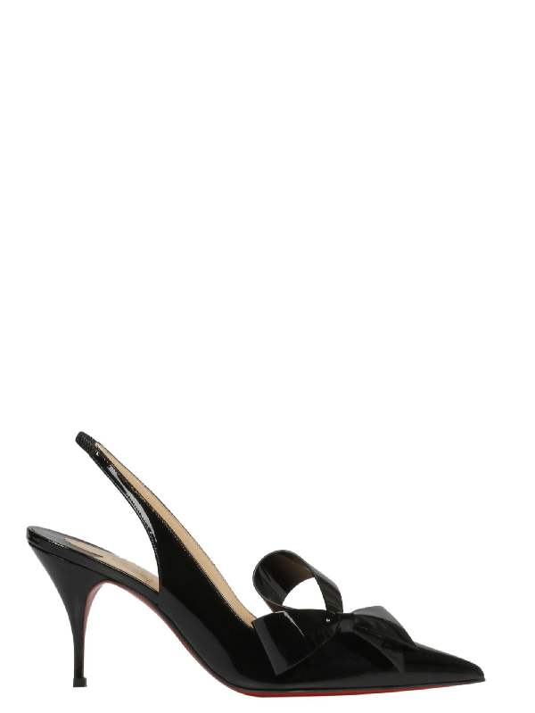 2aa81a3d025 Christian Louboutin Yasiling 70 Bow-Embellished Leather Slingback Pumps In  Black