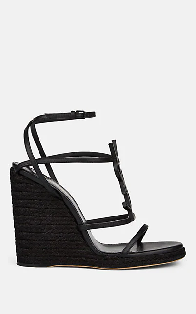 Saint Laurent Cassandra Wedge Espadrilles With Tonal Ysl Logo, Black