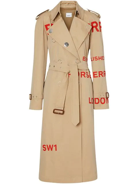 Burberry Horseferry Print Cotton Gabardine Trench Coat In Honey