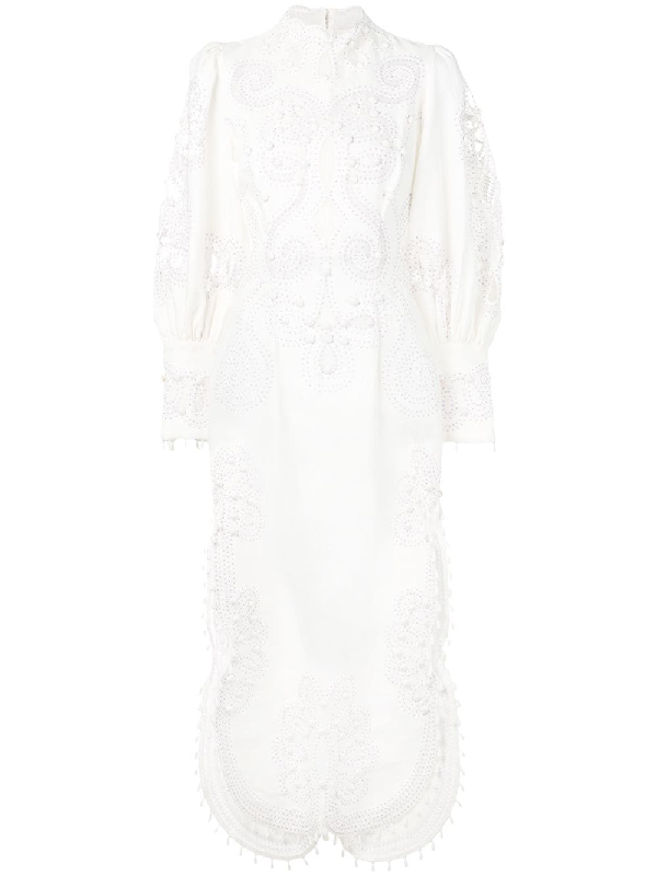 0ae5f02e6 Zimmermann Ninety-Six Silk And Linen-Blend Maxi Dress In White ...