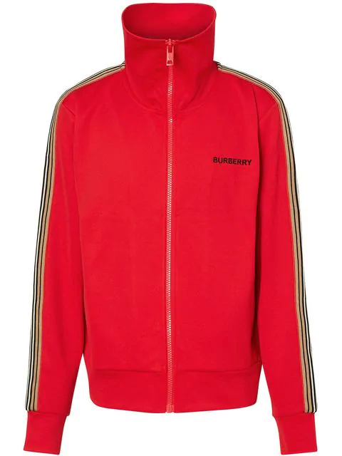 Burberry Icon Stripe Detail Funnel Neck Track Top In A1460 Bright Red