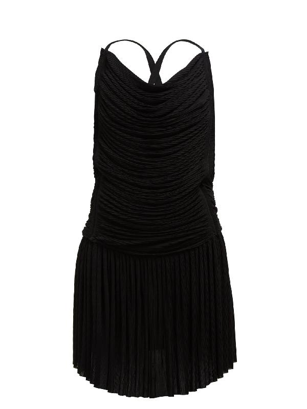 Atlein Ruched PlissÉ Mini Dress In Black