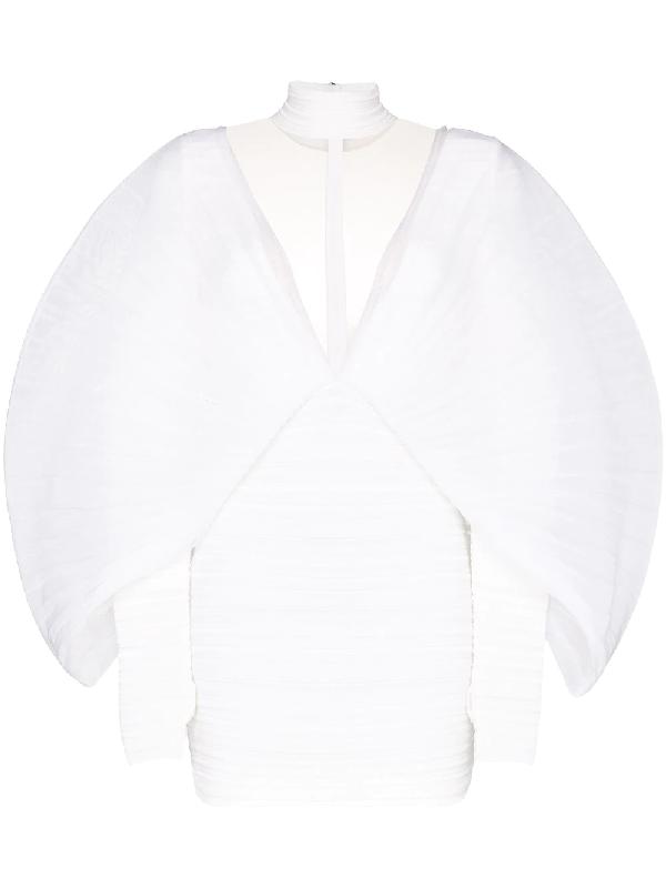 Balmain Mockneck Pleated Twist Chiffon Dress In White