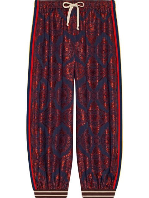Gucci Floral-Jacquard And Printed Silk-Twill Pants In 4378 Blue / Red