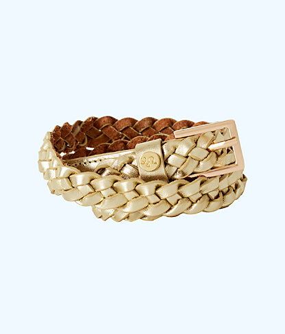 Lilly Pulitzer Callahan Braided Leather Belt In Gold Metallic